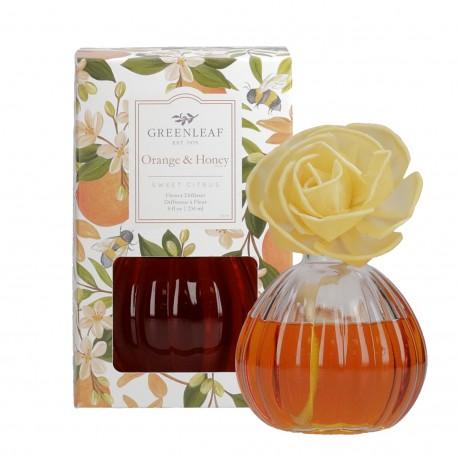 Namų kvapas Orange and Honey, rinkinys su gėle 236 ml.